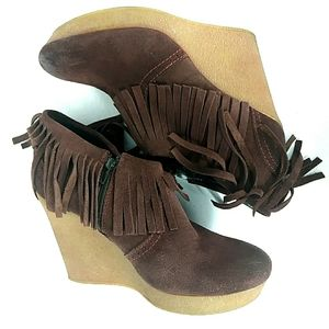 Diesel Maroon Leather Suade Fringe Wedge Boots